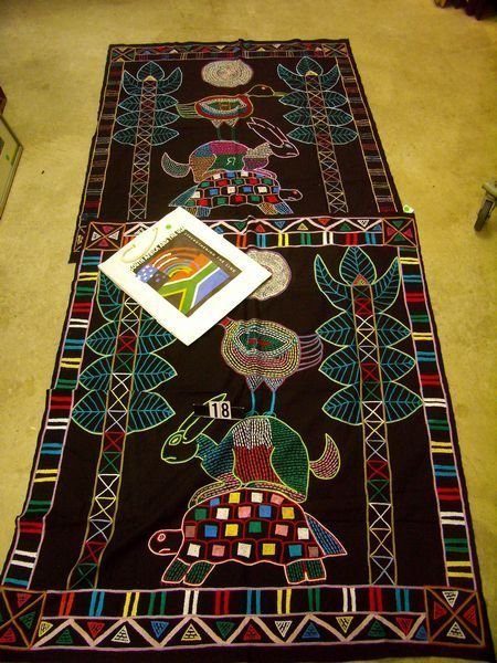 1018: (3 PCS) TWO VERY COLOFUL HAND-STITCHED AFRICAN TH