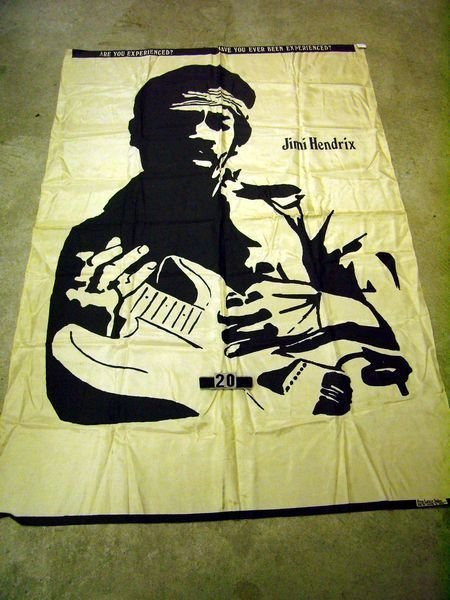 1020: JIMI HENDRIX CLOTH BANNER W/BLACK SILK SCREENED P