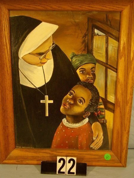 """1022: FRAMED OIL ON PANEL (12""""W X 16""""H) """"NUN WITH CHILD"""