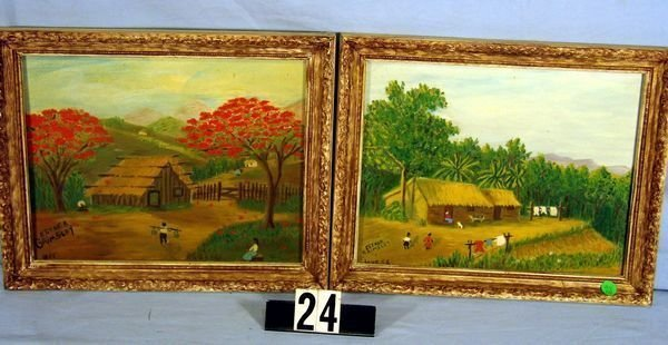 1024: PAIR OF FOLK ART OIL ON CANVAS PAINTING BY ESTHER