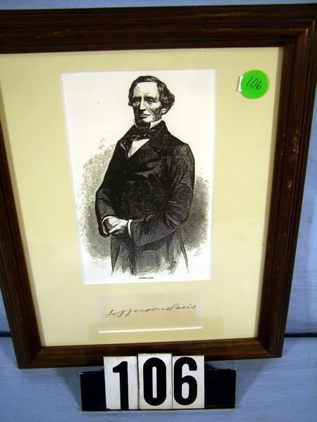 1106:  AUTOGRAPH OF CONFEDRATE PRESIDENT JEFFERSON DAVI