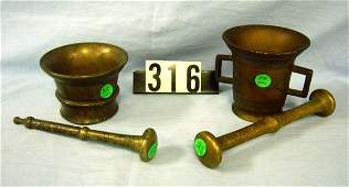 1316 2 ANTIQUE SOLID BRASS MORTARS AND PESTLES 3 1