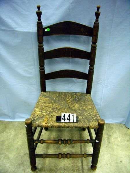 - 1441: ANTIQUE LADDERBACK CHAIR, TURNED SAUSAGE & BALL S