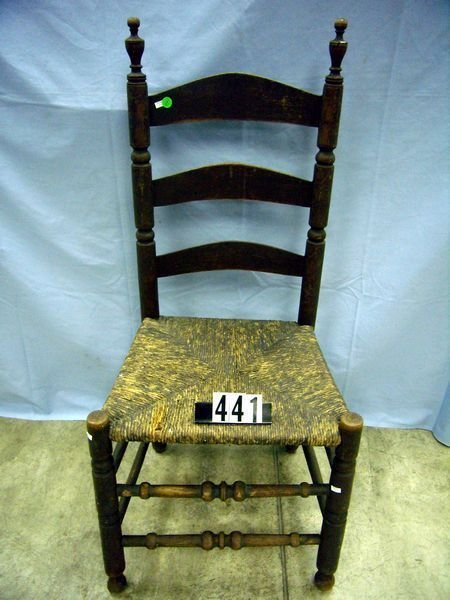 1441: ANTIQUE LADDERBACK CHAIR, TURNED SAUSAGE & BALL S