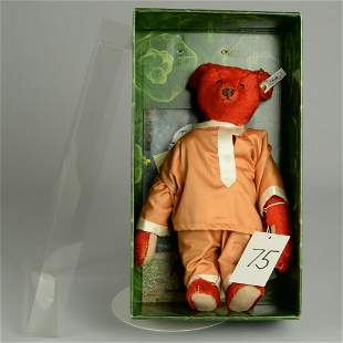 BOXED STEIFF REPLICA ALFONZO RED MOHAIR TEDDY BEAR