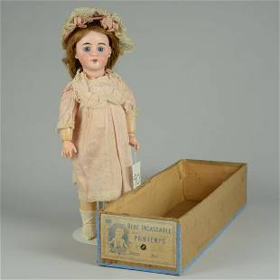 BOXED BEBE INCASSABLE CHILD DOLL 19 IN