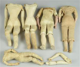 LOT OF 5 FRENCH & GERMAN DOLL BODIES: