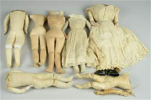 LOT OF 7 FRENCH & GERMAN DOLL BODIES: