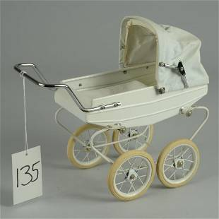 DOUCET FRENCH TIN DOLL CARRIAGE 12 IN.