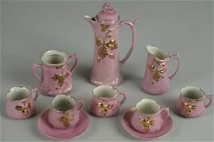 GERMAN PINK LUSTRE CHILDS TEA SET