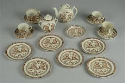 ENGLISH PUNCH & JUDY BROWN TRANSFERWARE CHINA TEAT