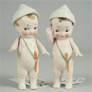 TWO UNUSUAL ALL BISQUE DOLLS WITH JOINTED HATS 5 .