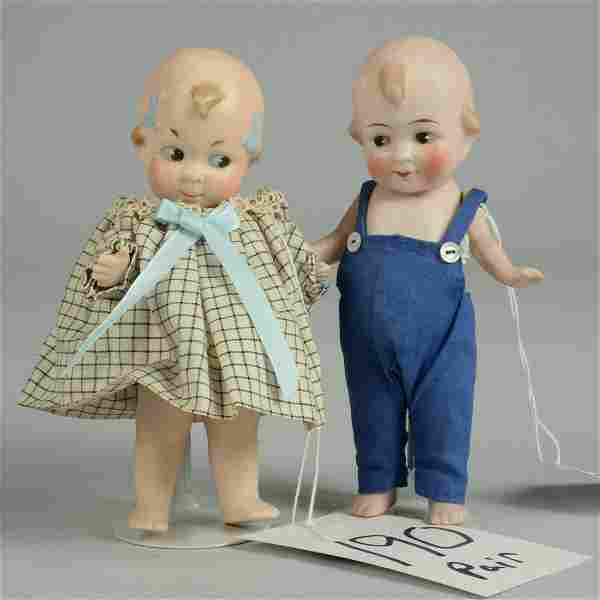PAIR - ALL BISQUE CUPID BOY AND GIRL 5 IN.