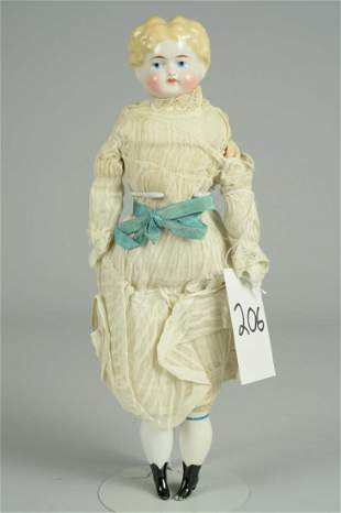 GERMAN BLONDE HIGH BROW CHINA DOLL 14 IN.