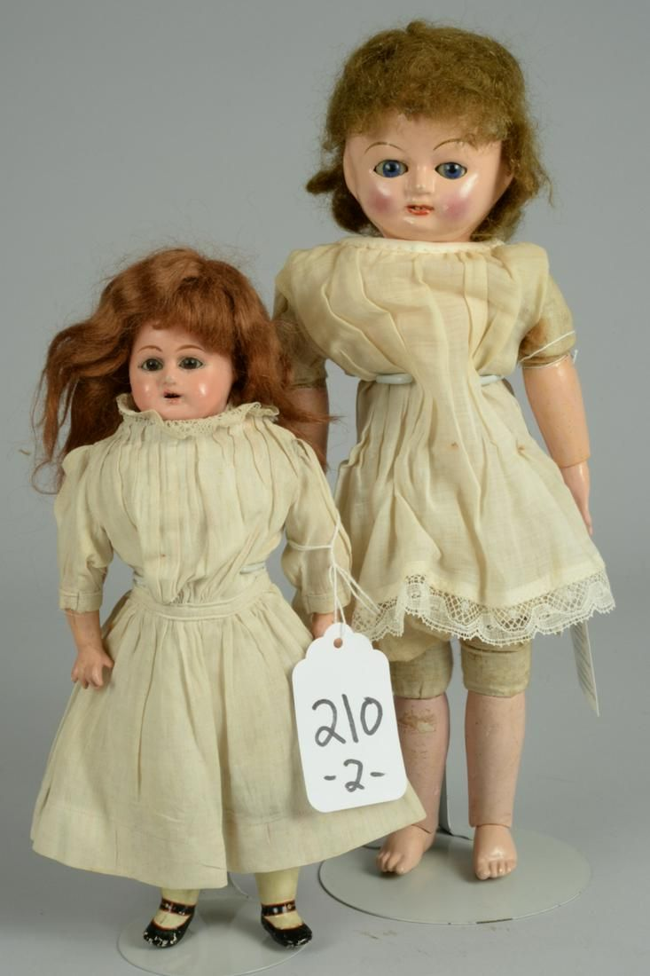 TWO GERMAN COMPOSITION DOLLS