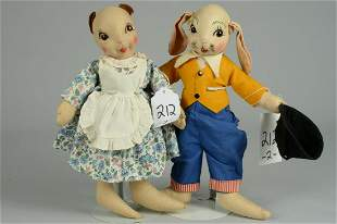 TWO GEORGENE AVERILL UNCLE WIGGLEY DOLLS 13 IN