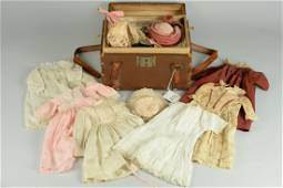ANTIQUE AND VINTAGE DOLL WARDROBE WITH TRUNK