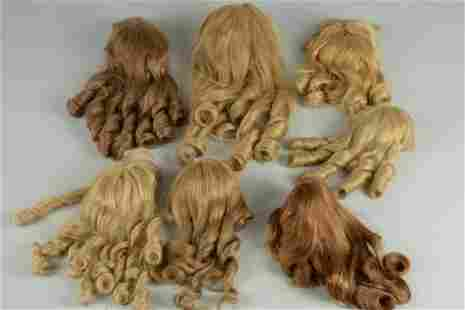 LOT 7 MEDIUM TO LARGE FRENCH HUMAN HAIR DOLL WIGS