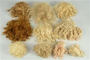 LOT 10 VINTAGE AND MODERN MOHAIR DOLL WIGS