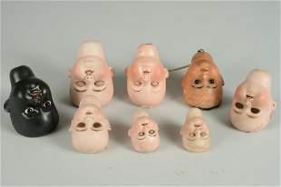 LOT OF 8 GERMAN BISQUE SOCKET HEADS