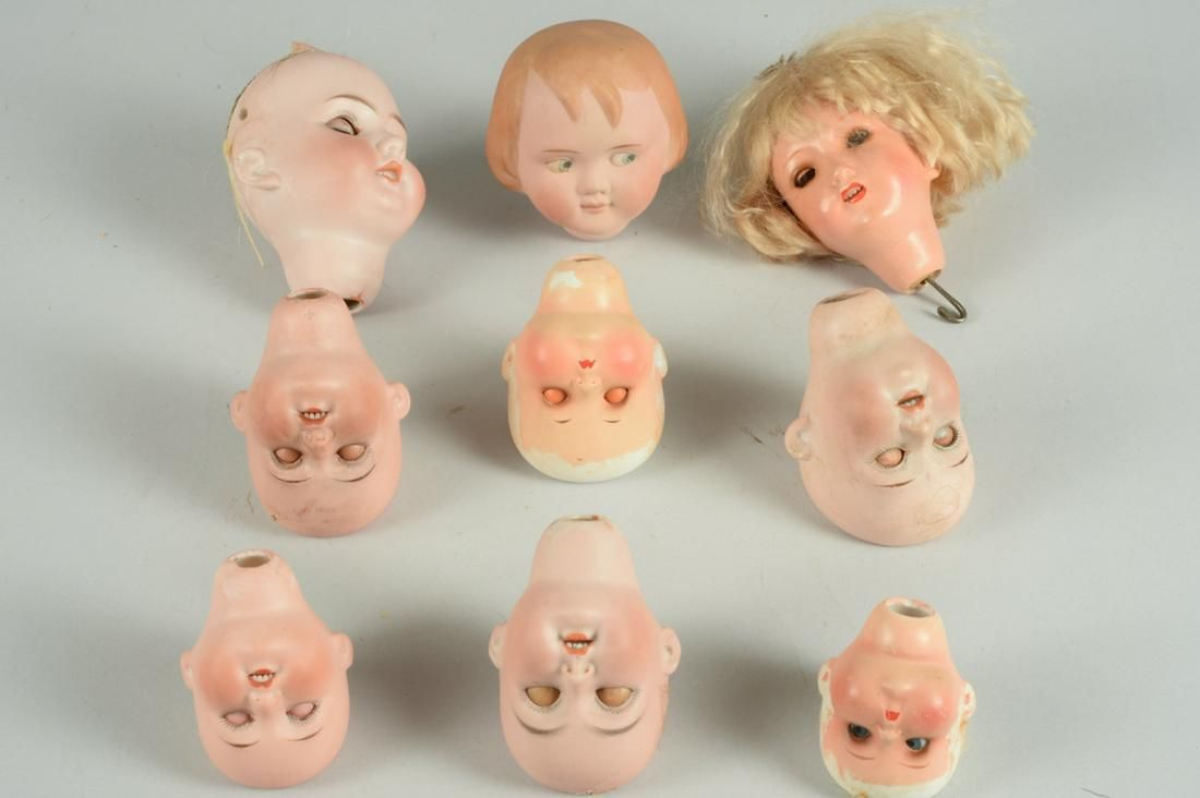 LOT OF 9 GERMAN BISQUE DOLL SOCKET HEADS