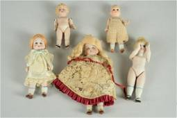 LOT OF 5 GERMAN ALL BISQUE DOLLS