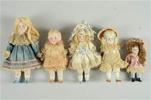 LOT OF 5 GERMAN ALL BISQUE DOLLS WITH PAINTED EYES