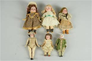 LOT OF 6 SMALL GERMAN BISQUE DOLLS