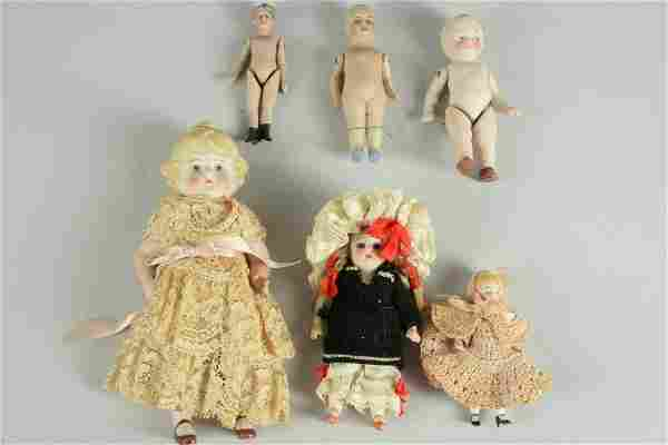 LOT OF 6 SMALL GERMAN ALL BISQUE DOLLS