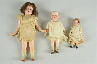 LOT OF 3 SMALL GERMAN BISQUE DOLLS