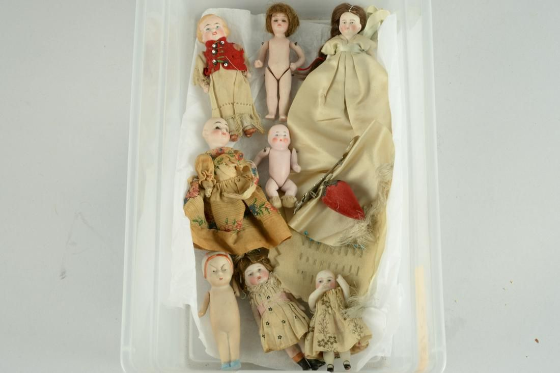 LOT OF 8 SMALL GERMAN ALL BISQUE DOLLS