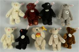 LOT OF 9 SMALL STEIFF CLUB TEDDY BEARS