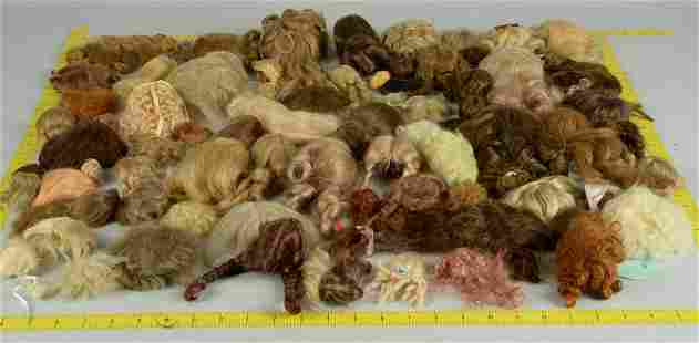 LOT OF VINTAGE AND ANTIQUE DOLL WIGS