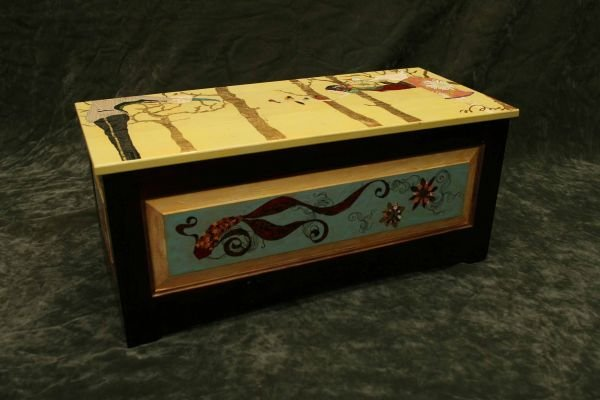 209: Original Denise Duong painted hope chest