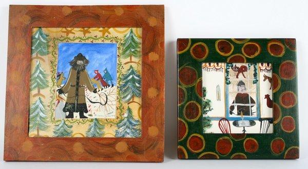 2: Barbara Strawser, Pair of Folk Art Holiday Paintings