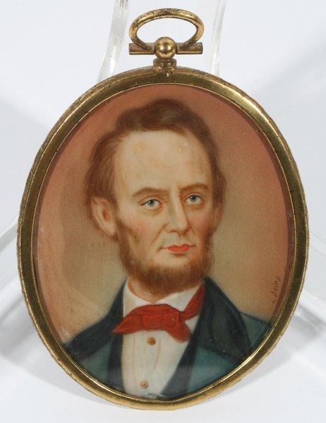 11: 19th Century Miniature Portrait of Abraham Lincoln