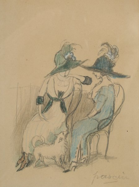 18: Jules Pascin, Two Seated Women with Dog