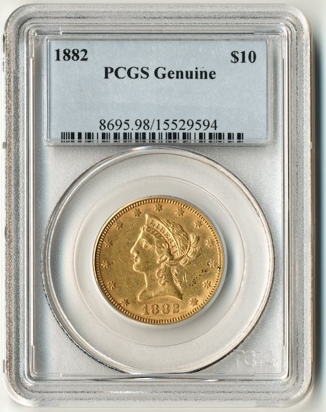 193: 1882 Liberty Head $10 US Gold Coin