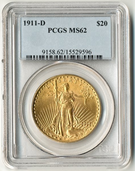 203: 1911-D St. Gaudens $20 US Gold Coin