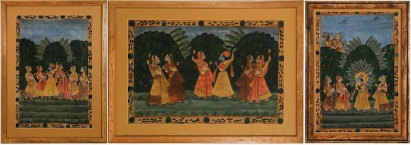 Three Mixed Media Indian Compositions on Fabric