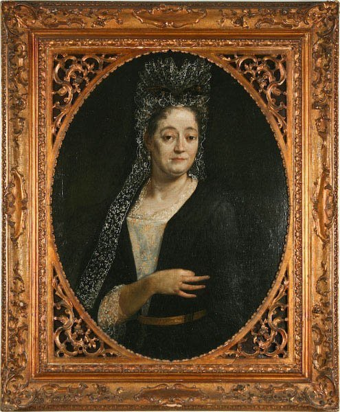18th Century, Distinguished Lady in Fine Lace Mantilla