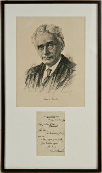 Portrait of Louis Brandeis, with handwritten memo