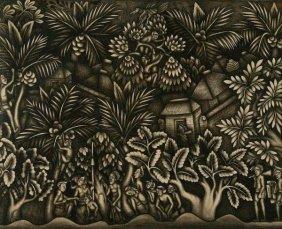 Balinese School Jungle Scene, Circa 1930s