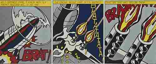 58: After Roy Lichtenstein, As I Opened Fire (Triptych)