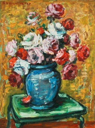 """10: Samuel S. Heller """"Floral Still Life"""" oil on board"""