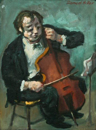 "12: Samuel S. Heller ""Cello Player"" oil on canvas"