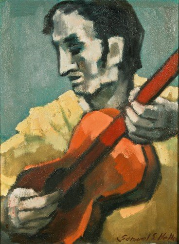 """14: Samuel S. Heller """"Folk Singer"""" 1965 oil on canvas"""