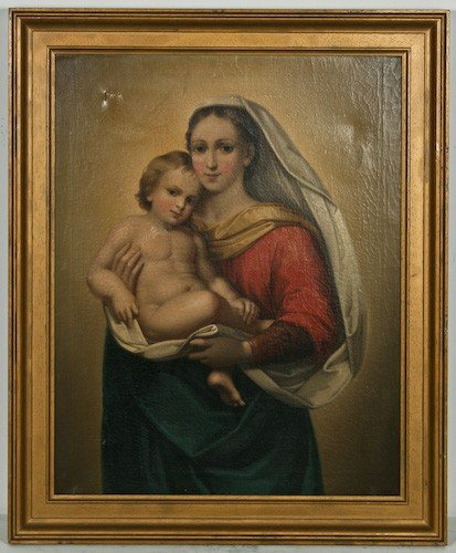 """17: 19th Century """"Madonna and Child"""" oil / canvas"""