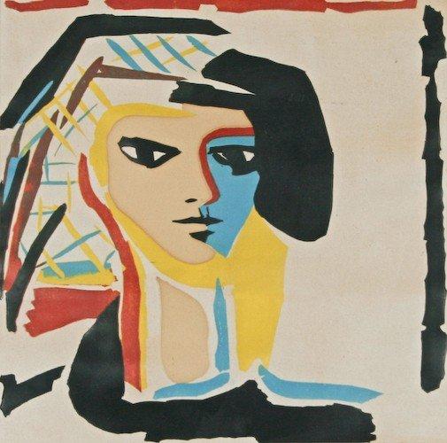 "19: Alfredo Zalce ""Cabeza"" 1968 screenprint in colors"
