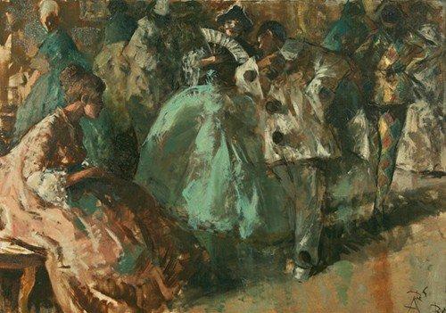 "20: Sergio Cirno Bissi ""Bal masqué"" oil on canvas"